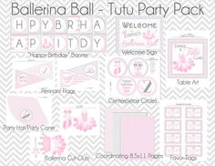 Ballerina Ball Birthday Bash - Tutu Party - Printable Party Pack with cupcake toppers, favors tags, party hats and more. $26.00, via Etsy.