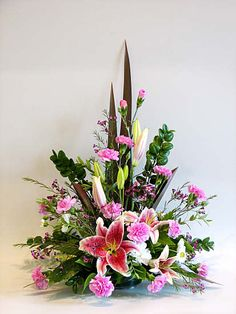 lily and carnation arrangement
