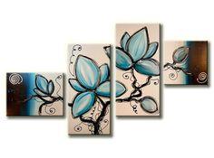 Een vierluik-canvasschilderij met abstract geschilderde blauwe bloemen
