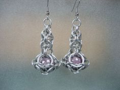 Silver and Lavender Quasar Chainmaille Earrings by Sneath on Etsy, $16.00