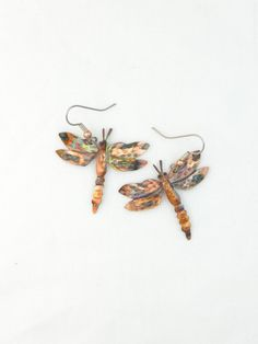 Handmade flame painted torched copper dragonfly earrings, dragonfly jewelry, wearable garden art, bug jewelry, insect jewelry, whimsical art