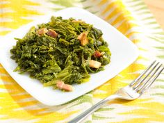 Bacon-Braised Mustard Greens recipe from The Kitchen via Food Network (Season 6/Must Have Meals)