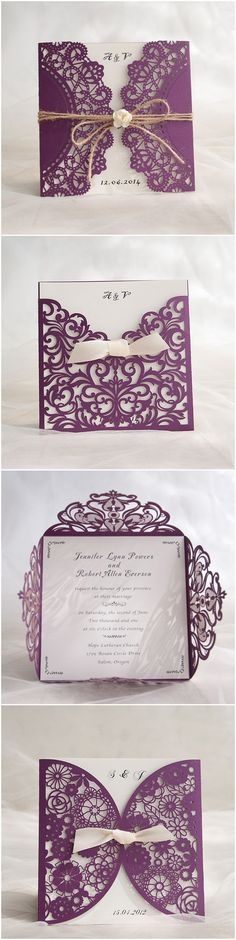 Purple Themed Chic Rustic DIY Laser Cut Wedding Invitations: