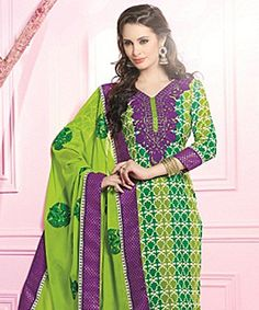 Lend that much coveted grace to your outfit with this pretty suit! In one swift move  these exquisite piece can instil a dash of feminity coupled with ethnicity and beauty!BRAND: BrijrajCATEGORY: Unstitched Suit with DupattaARTICLECOLOURMATERIALLENGTHTopGreen and MultiPoly Crepe2.75 metersBottomPurplePoly Crepe2.25 metersDupattaGreenPoly Georgette2.30 metersWe would always want to send you what we showcase but there might be a slight variation in color due to photographic effects.  Also note…