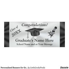 Personalized Graduation Banners 2017 or ANY YEAR and NAME or Your Text or Delete. Add a Photo instead of the bursting out diploma or graduation cap. CLICK: https://www.zazzle.com/z/ywowe?rf=238147997806552929 Black and Silver Graduation Party Supplies by Zazzle Designer Little Linda Pinda Designs. CALL Linda for Free Design Service to create your affordable custom graduation party supplies on hundreds of products. 239-949-9090 http://www.Zazzle.com/LittleLindaPinda