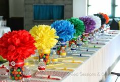 Lovely rainbow centerpiece idea, who wouldn't agree with me? Lovely rainbow centerpiece idea, who wouldn't agree with me? Diy Rainbow Birthday Party, Trolls Birthday Party, Troll Party, Rainbow Parties, First Birthday Parties, Birthday Party Themes, Birthday Table, 5th Birthday, Rainbow Party Favors