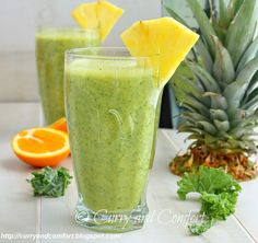 Kale Pineapple and Orange Smoothie (Non-Dairy) Ingredients: 1 cup kale chopped (no stems... just the leaves) 1 pineapple, peeled and  cut into chunks (for a frosty smoothie freeze some of the pineapple) 3 seedless oranges peeled and cut into segments 2 cups almond milk (I used vanilla flavored) sweetener (if needed.. I used none) 1 cup ice- if your pineapple is not frozen