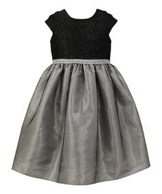 Another great find on #zulily! Black & Silver Glitter Dress - Toddler & Girls by Jayne Copeland #zulilyfinds