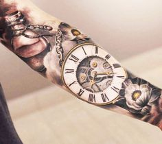 What does pocket watch tattoo mean? We have pocket watch tattoo ideas, designs, symbolism and we explain the meaning behind the tattoo. Hals Tattoo Mann, Tattoo Arm Mann, Tattoo Hals, Pocket Watch Tattoo Design, Pocket Watch Tattoos, Clock Tattoo Design, Tattoo Designs And Meanings, Tattoos With Meaning, Tattoo Designs Men