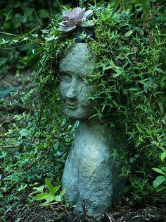 Head Planter by intheartroom. Face Planters, Garden Planters, Garden Statues, Garden Sculpture, Amazing Gardens, Beautiful Gardens, Garden Ornaments, Dream Garden, Container Gardening