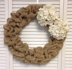 Large Simple Wreath, Burlap Wreath with Burlap Hydrangeas, Wreath for All Year, Burlap Wreath - pinned by pin4etsy.com