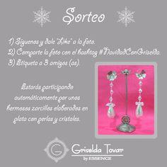 #Sorteo:  Para celebrar esta navidad obsequiaremos unos hermosos zarcillos elaborados en plata con perlas y cristales. Participa a través de INSTAGRAM. Búscanos y participa @ griseldatovar   http://instagram.com/griseldatovar/  Sólo tienes que seguir los pasos: 1) Síguenos y dale LIKE a la foto. 2) Comparte esta foto con el hashtag #NavidadConGriselda. 3) Etiqueta a 3 amigos (as). La ganadora se publicará el viernes 26 de diciembre. ¡No dejes de participar!
