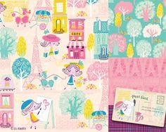 24 Note Cards - Poodles in Paris - Hot Pink Envs 705816007525 Textiles, Textile Patterns, Print Patterns, Kids Graphic Design, Kids Graphics, Textile Texture, Kid Character, Cute Illustration, Art Illustrations