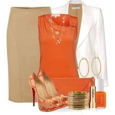 Orange, Tan, and White ...Another outfit that's great for the office.