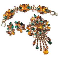 Vintage Amber and Green Rhinestone Brooch, Bracelet and Earring Parure