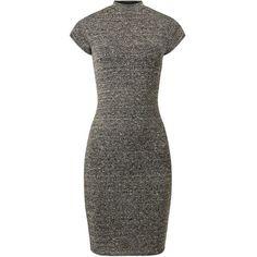 Dark Grey Fine Knit High Neck Midi Dress ($16) ❤ liked on Polyvore featuring dresses, mid calf dresses, high neckline dress, dark grey dress, slim fit dress and short sleeve midi dress