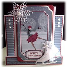 Christmas stepper card.  Tim Holtz ice skates, Memory box snowflake dies