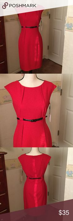 Gorgeous Red CK Dress NWT high-waisted lovely red sheath. Very flattering fit, accentuates the waist and lengthens the legs. This dress really pops! Calvin Klein Dresses Midi