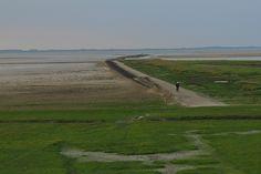 Op de fiets buitendijks bij Wierum Friesland Holland.Wereld erfgoed  de Wadden.