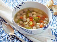 Klar suppe med boller (Danish Soup) http://www.soupsong.com/rklarsop.html