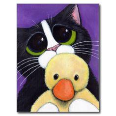 Smokings-Katze und knuddelige Postkarte
