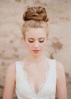 gorgeous bridal top bun