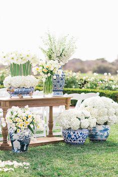 Blue and White Ginger Jar Wedding Inspiration — Prim + Pretty Prints Nantucket Style Homes, Nantucket Cottage, Floral Wedding, Wedding Flowers, Blue White Weddings, Peach Weddings, Nantucket Wedding, Wedding Decorations, Table Decorations