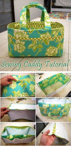 With pockets for all your needles and scissors, this simple sewing project is a great way to stay organized. It's a stylish way to store all your sewing tools. Staying organized while sewing can be a truly difficult endeavor. Patchwork Bags, Quilted Bag, Sewing Projects For Beginners, Sewing Tutorials, Bag Patterns To Sew, Sewing Patterns, Sewing Caddy, Caddy Bag, Diy Sac