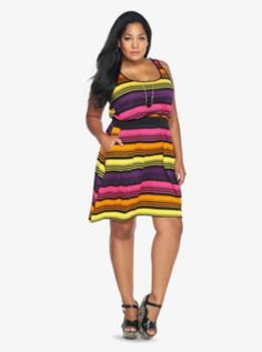 162a778920d Multi-Colored Striped Tank Dress. Trendy Plus Size ...