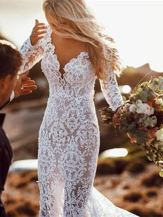 Wedding Dress Lace See Through Lace Rustic Wedding Dresses Long Sleeve Mermaid Wedding Dress - Ivory lace rustic wedding dresses. Backless mermaid wedding dress with sleeves. Wedding Dress Empire, Mermaid Wedding Dress With Sleeves, Backless Mermaid Wedding Dresses, Rustic Wedding Dresses, Wedding Dresses 2018, Long Sleeve Wedding, Perfect Wedding Dress, Mermaid Dresses, Cheap Wedding Dress