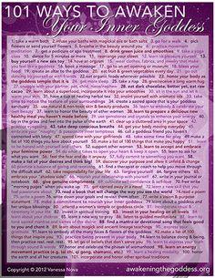 101 Ways to Awaken Your Inner Goddess! - Awakening the Goddess Spiritual Health, Spiritual Practices, Spiritual Life, Spiritual Awakening, Sacred Feminine, Feminine Energy, Divine Feminine, Chakra Meditation, Chakra Healing