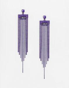 Boucles d'oreilles par Lipsy Finition colorée argentée Pendants tendance Chaînes pendantes ornementées et perles Fermoir poussette 100% zinc