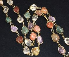 Caged Polished Gemstone Necklace Gold Tone Wire Wrapped Stones Amethyst Carnelian Green Aventurine Agate Mid Century Jewelry 318