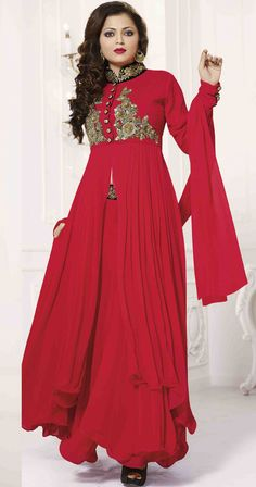 USD 67.26 Drashti Dhami Red Georgette Bollywood Suit 54446