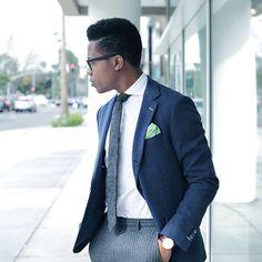 Herringbone Tie, Navy Blazer + Pinstripe Trousers