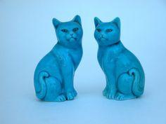 Cute Turquoise Porcelain Cat Figurines by CubbiesCloset on Etsy, $16.50