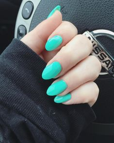 Turquoise Almond Nails