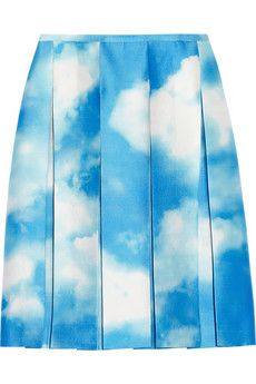 Digital cloud print wool and silk blend skirt by Michael Kors