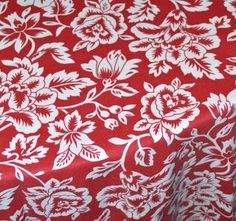 Red & White Floral Linen | Be Our Guest Party Rental