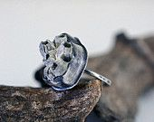 Beachcombing, no. 9, fossil barnacle cluster  ring in sterling silver laurelsbench etsy