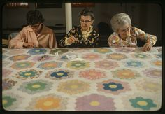 .~Quilting Bee~ I spent many hours sitting next to a very patient grandma and on a quilt just like this...