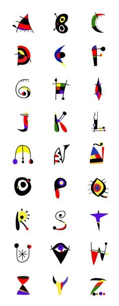 JOAN MIRÓ alphabet - lesson idea - have student design an alphabet inspired by their favorite artists. Calligraphy Letters, Typography Letters, Typography Design, Hand Lettering, Typography Served, Schrift Design, Graffiti, Ecole Art, Alphabet Art