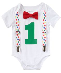 First Birthday Baby Boy Clothes - Primary Color Polka Dot Suspenders - Red Bow Tie - 1st Birthday Clothes - Primary Color Birthday Outfit