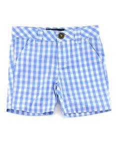 Blue Gingham Shorts - Infant Toddler & Boys