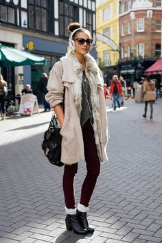 Paris isComing, Fashion is Here. #fur + # Trench + #Skinny pant  #coat #outfit #Pariscoming