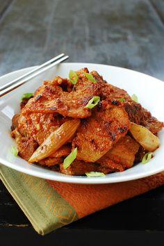 Bulgogi - pork, onion, scallions, red chili pepper paste, soy sauce, sesame oil, garlic, ginger. #spicy #takeout #dinner #pork #korean