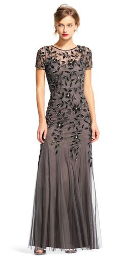 Floral Beaded Godet Gown with Sheer Short Sleeves - - Adrianna Papell Mother Of The Bride Gown, Mother Of Groom Dresses, Mothers Dresses, Mob Dresses, Dresses With Sleeves, Formal Dresses, Short Sleeves, Bride Dresses, Casual Dresses