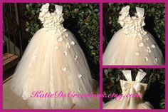 Ivory Lace Double Tulle Flower Girl Tutu Dress by KatieDscreations, $145.00