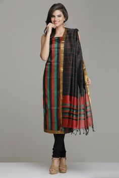 Red, Green, And Black Vertical Striped Mangalagiri Silk Cotton Unstitched Suit With Gold Zari Border