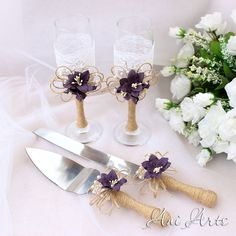 Burlap and Lace Toasting Flutes Rustic Toasting Glasses by AniArts